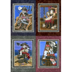 Pirate Cats -5x7 Set of 4